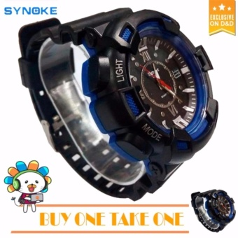 SYNOKE Fashion Men Black Silicone strap Sport Quartz Wrist WatchBUY ONE TAKE ONE C-SY888 Price Philippines
