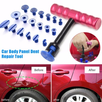 T-Bar Car Body Panel Paintless Dent Removal Repair Lifter Tool Red +18Pcs Puller Tabs - intl
