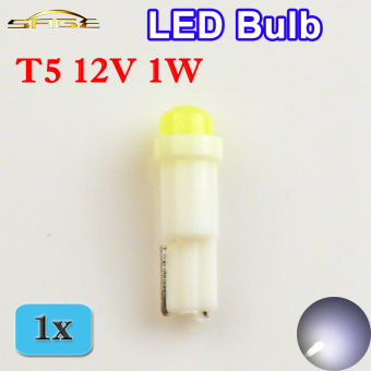 T5 1 LED Bulb SMD Ceramic Dashboard Car Gauge Light Auto InstrumentLamp (White) - intl