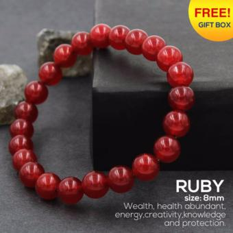 Tara Treasures Ruby Charm Unisex Bracelet 8mm