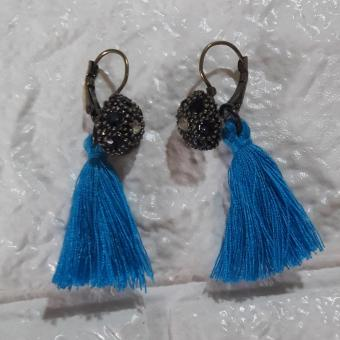 Tassel Earring Vintage Antique design color Light Blue