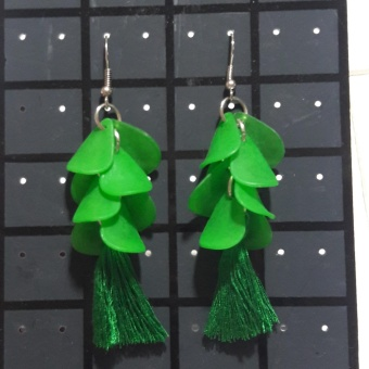Tassel Flower Petal Rose Earring color Green