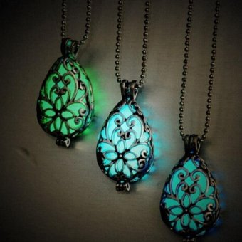 Tear Drop Pendant Necklace Glow In The Dark Pendant Necklace(LightBlue) - intl