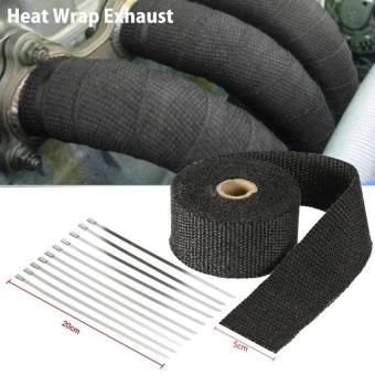 Temp Exhaust Pipe Heat Wrap Retention Resistant Downpipe Car Motorcycle Tape - intl