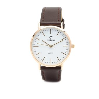 Tempus Mode Gold with Brown Leather Strap Watch