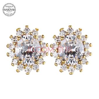TESIRO Jewelry Crystals from Swarovski Stud Earrings(White Gold)