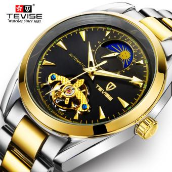 TEVISE Mechanical Watch Top Brand Men Business Luxury Watchs Stainless Steel Band 3ATM Waterproof Moon Phase Tourbillon Mens Famous Male Watches Clock For Men Wrist Watch - intl