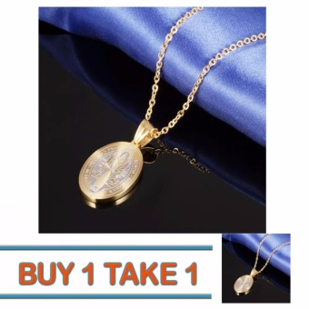 Than's Buy One Take One 14K Gold Plated Saint Benedict Religious Medal Necklace