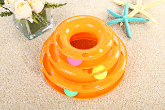 Three Tower Tracks Turntable Ball Pet Cat Toy (ORANGE) - Intl