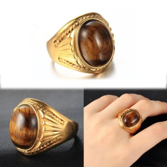Tiger's Eye Stone Vintage Ring for Men Yellow Gold Plated Ring Jewelry - intl