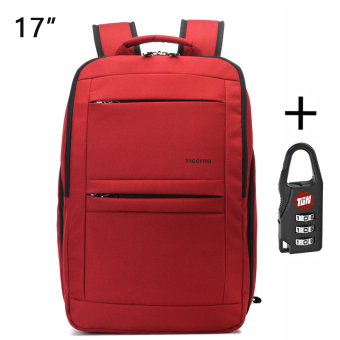 Tigernu Waterproof Anti-theft Four-tooth zipper Shcool CollegeCausal 17 Inches Laptop backpack for 12.1-17 Inches LaptopT-B3152(Red)
