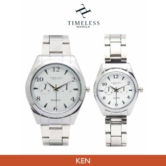 "Timeless Manila ""Ken"" White Face Couple's Chrono Metal Watch (Silver)"