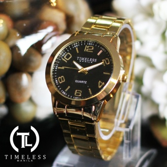 Timeless Manila Cameron Gold Plated Metal Watch (Black)