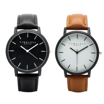 Timeless Manila Jules Leather Watch (Black and Brown)