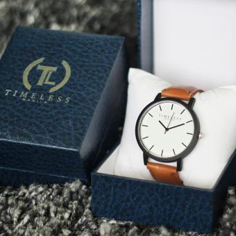Timeless Manila Jules Linear Leather Watch (Brown) with Free Timeless Manila Watch Box