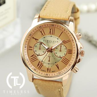 Timeless Manila Kathy Roman Numeral Chrono Leather Watch (Beige)
