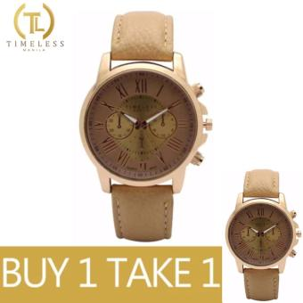 Timeless Manila Kathy Roman Numeral Leather Watch Buy 1 Take 1 (Beige)