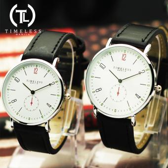 Timeless Manila Nomus Leather Couple Watch (Black/ WhiteFace)