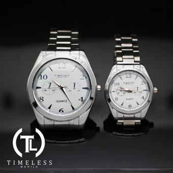 Timeless Manila White Face Couple's Chrono Metal Watch (Silver)