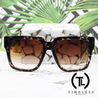 Timeless Manila Zoie Retro Squared Sunglasses Shades (Brown)