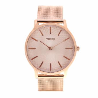Timex Mens Rose Gold Leather Watch TW2R49400
