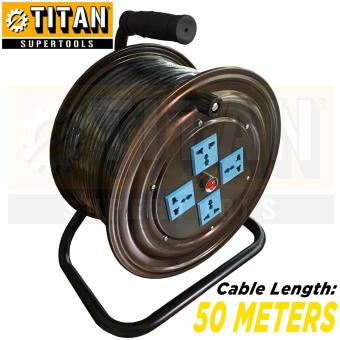 Titan Supertools TST-ECR50 Extension Wire Cable Reel 50 Meters Power Cord Extension