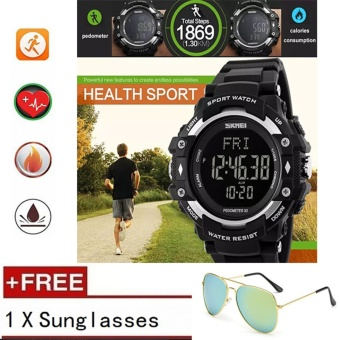 Top brand SKMEI Pedometer Heart Rate Monitor Waterproof Sports Watch Men/Women Digital Calories Counter Fitness Tracker Watches - intl