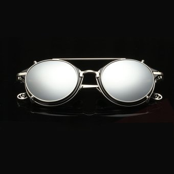 Top Designed Vintage Steampunk Sunglasses Men Women Mirror Glasses clip on Small Oval Glass Frame Dual Eyewear AO1810 - Intl Price Philippines