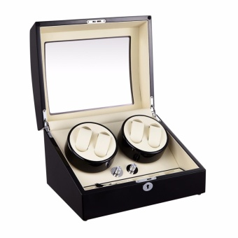 Top quality Premium Automatic Rotate Watch Winder Wood Glass Watch Display Box With Lock 4+6 - 3