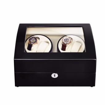 Top quality Premium Automatic Rotate Watch Winder Wood Glass Watch Display Box With Lock 4+6 - 4
