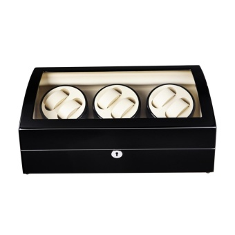 Top quality Premium Automatic Rotate Watch Winder Wood Glass Watch Display Box With Lock 6+7