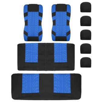 Top Quality Seat Covers Airbag Ready Rear Split For Car SUV Beige Blue - intl