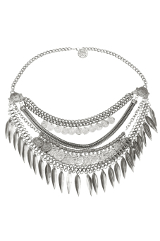 Toprank Bib Chunky Alloy Coin Tassel Necklace Unique Collar Pendant Statement Jewelry For Women ( Silver ) - picture 2