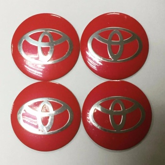 TOYOTA LOGO Center Hub cap stickers RED 2.25""