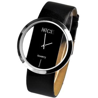 Transparent Dial Faux Leather Wrist Watch (Black)