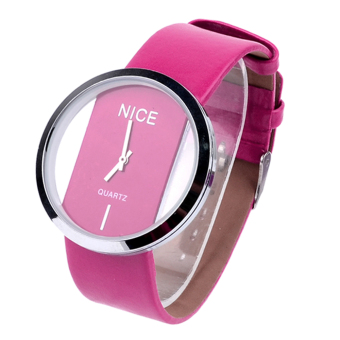 Transparent Dial Faux Leather Wrist Watch (Pink)