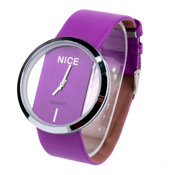 Transparent Dial Faux Leather Wrist Watch (Purple) - picture 2