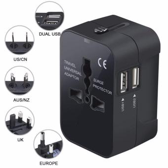Travel Adapter, Universal All in One Worldwide Travel Plug Adapter Wall Charger AC Power Adaptor Charger with Dual USB Charging Ports for USA Eu Uk AUS Plug Adapter - intl