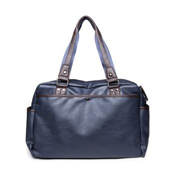 Travel Duffel leather Zipped Men's or Women's Luggage VersatileBlack Solid Waterproof Weekend Travel Bags Multifunction Duffle - 2