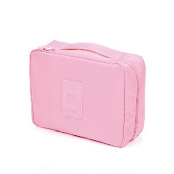 Travel Makeup Cosmetics Toiletries bags Multi Pouch (Peach) withFree Travel Mate Toiletry Kit Organizer (Color may vary)