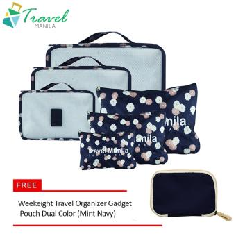 Travel Manila 6 in 1 Packing Bags (Floral Navy Blue) with FreeWeekeight Travel Organizer Gadget Pouch Dual Color (Mint Navy)