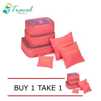 Travel Manila 6 in 1 Packing Bags (Salmon/Neon) Buy 1 Take 1