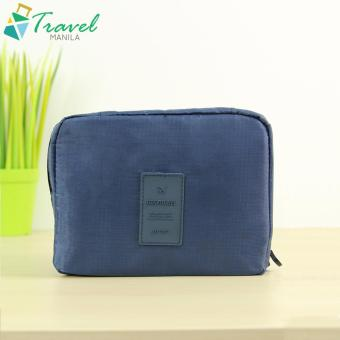 Travel Manila Cosmetic Toiletry Case Organizer (Navy Blue)
