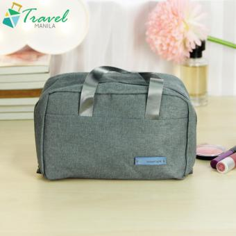 Travel Manila Make Up Kit Cosmetic Toiletry Bag Pouch ( Gray )