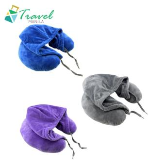 Travel Manila Neck Pillow with Hood (Blue / Grey /Violet) Buy2Take1
