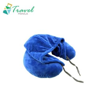Travel Manila Neck Pillow With Hood (Blue) - New
