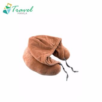 Travel Manila Neck Pillow with Hood (Brown) - New