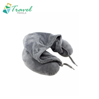 Travel Manila Neck Pillow With Hood (Grey) - New