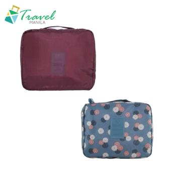 Travel Manila Toiletry Pouch Bag Bundle (Maroon and Blue Floral)