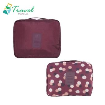 Travel Manila Toiletry Pouch Bag Bundle (Maroon and Maroon Floral)